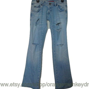 free shipping LEVIS Drop pocket distressed busted knee Denim jeans 28 6 Grunge Boho Festival