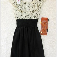 lovely dress with polla dot belt bow from cassie2013