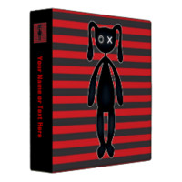 Goth Red and Black Bunny Vinyl Binder