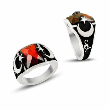 Crescent star with red zirconia stone sterling silver ring