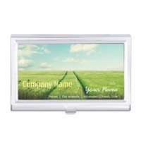 Green Filed Blue Sky White Cloud Nature Farm Business Card Case