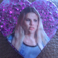 Purple Wooden Glittery Kim Kelly (Freaks and Geeks) Pin / Badge