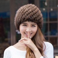 2016 Fashion Knitted Real Mink Fur Hats For Women Lady Winter Warm Russian Beanies Natural Thick Pineapple Fur Cap JQ6017