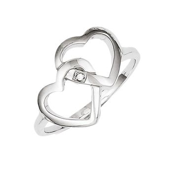 925 Sterling Silver White Diamond Interlock Heart Ring: Diamond Heart Ring in Sterling Silver - Interesting - Round - Polished Finish