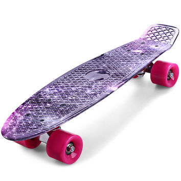 Free Shipping CL - 95 22 inch Purple Starry Sky Pattern Retro Skateboard Longboard Mini Cruiser