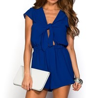 Helene Royal Blue Chiffon Short Romper Dress with Sleeves