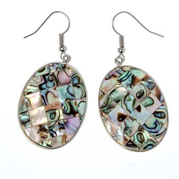 SHIPS FROM USA Abalone shell flower drop dangle earrings fashion jewelry mothers day birthday gifts for women mom her wife H005