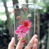Handmade Double Flowers Real Pressed Flowers Phone Case For iPhone 5/5S 0709010