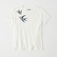 Womens Embroidered Boyfriend Tee   Womens Tops   Abercrombie.com