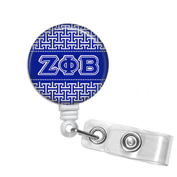 Zeta Phi Beta Greek Letters Sorority Name Badge ID Holder