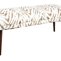 "Colette 49"" Bench, Brown/White, Entryway Bench, Bedroom Bench"