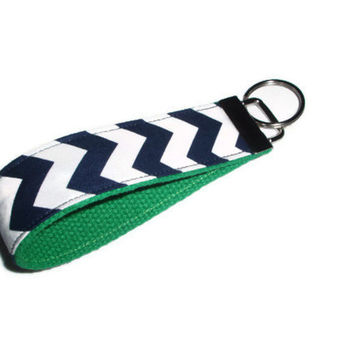 Navy Blue Chevron with Green Wristlet Keychain
