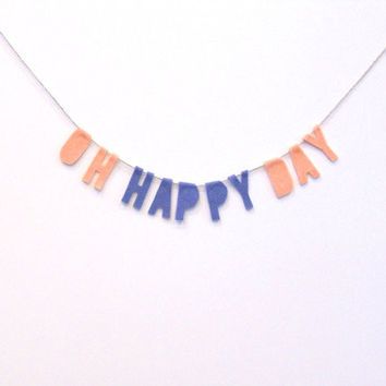 Oh Happy Day Felt Party Banner in Lavender and Dreamsicle
