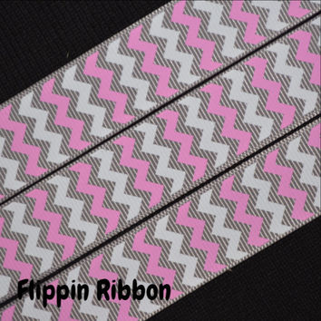 Pink and White Chevron Ribbon, 4 Yards, 7/8 inch Grosgrain