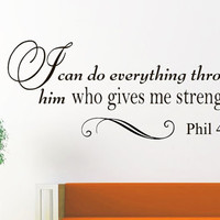 Vinyl Wall Decals Quotes Sticker Home Decor Art Mural Bible Verse Psalm Philippians 4:13 I can do all this through him who gives me  Z253