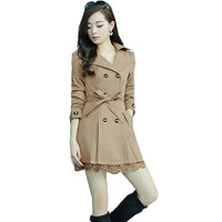 Fashion Womens Spring Double Breasted Lace Hem Slim Trench Coat Long Outerwear Camel