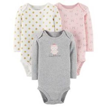 Baby Girls' 3 Pack Princess Owl Bodysuit Set Grey - Just One You™ Made by Carter's®