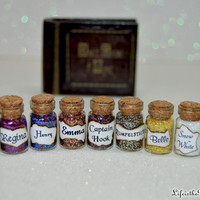 Once Upon a Time Miniature Bottles of Characters Magic, 9 Small Bottles, Desk or Shelf Charms