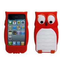 Leegoal(TM) Owl Design Cartoon Cute Silicone Case Cover Skin for Apple iPhone 4 4S Red