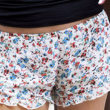 Short And Sweet Floral Print Off White Ruffle Shorts