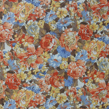 "Floral Print Fall Colors Cotton Textured Fabric 2.5 yds. 43"" wide"