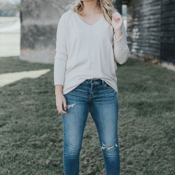Delta Long Sleeve Sweater, Oatmeal