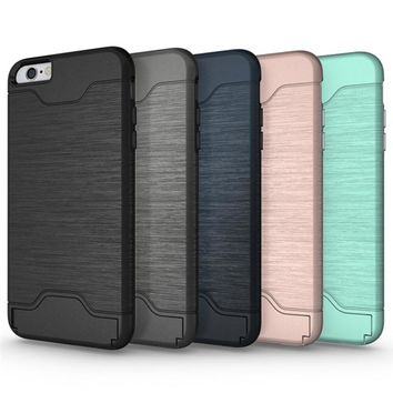 TopArmor Hybrid Wire Drawing Hard Armor Case Cover For iPhone 6Plus 6SPlus With Stand Card Holder Mobile Phone Shell Fundas