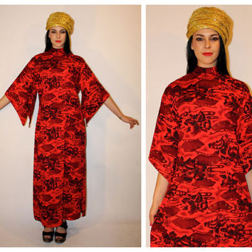Vintage HAWAIIAN MAXI Dress, 60s Von Hamm Young VHY Red-Orange Floral Orient Print, Angel Sleeve s-l