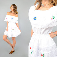 Embroidered Off-The-Shoulder MEXICAN Dress