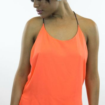 Double Zero | Second Skin Tank in Orange/Navy