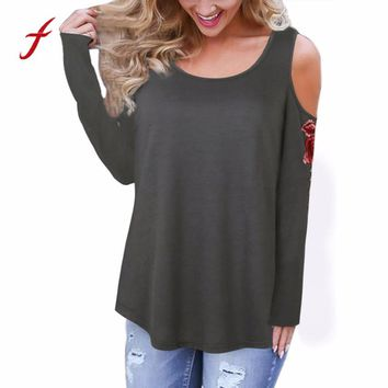 Feitong New Autumn Women Causal T Shirts Embroidered Rose Long Sleeve Cold Shoulder Casual O Neck Tops Tee Shirts vetement femme