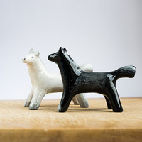 Animal Totem Two Horses black and white set, horse totem, horse figurines, home decor, tiny zoo, weddind decor