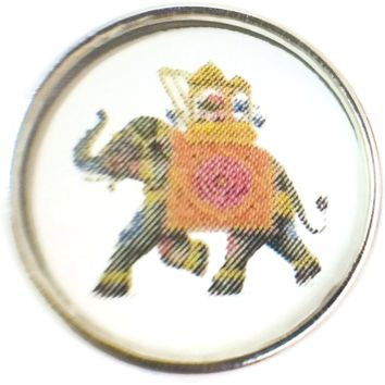 Circus Ride On Elephant Picture 18MM - 20MM Fashion Snap Jewelry Charm New Item