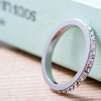Single Sterling Silver Diamante Band Ring Promise Ring the ring woman
