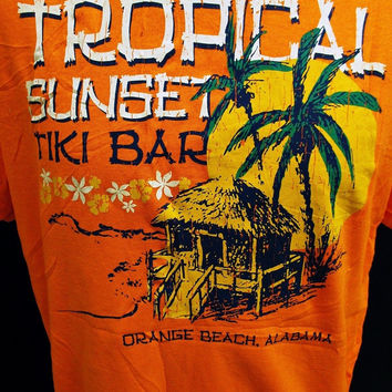 Vintage 90s TROPICAL SUNSET American Holiday Tourist Print T-Shirt Large