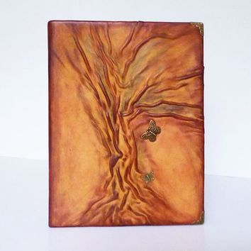 Leather Album, Gift for Family, Mother, Anniversary, Christmas gift, Butterfly, Forest, Photo Album for Traveller, Tree of Life, Leather Art