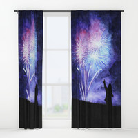 Blue and pink fireworks Window Curtains by savousepate