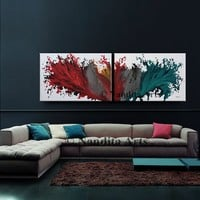 """Gray and Red Wall Art Painting, 72"""" x 24"""" Large Abstract painting, Modern Art, large modern art on canvas, framed, handmade by Nandita"""