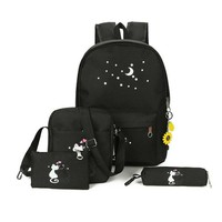 Girls bookbag 6Pcs Cute Animal Star Printing Backpack Women Canvas Backpack School Bags For Teenagers Girls School Backpack Set Women Bookbags AT_52_3