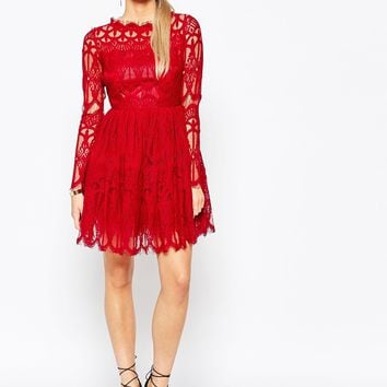 Boohoo Premium Lace Skater Dress at asos.com