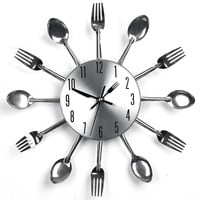 Modern Kitchen Utensils Wall Clock