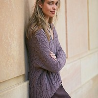 Free People Womens Easy Cable V neck Pullover