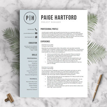 Modern Resume Template for Word + Cover Letter + Tips | 1, 2 & 3 Page Resumes Included | Professional Resume Template | INSTANT DOWNLOAD