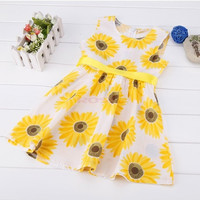 Kids Children Girl's Wear Sleeveless Cute Sunflower Printed Party Dress Children's clothes SV014345|26601 = 1745555460