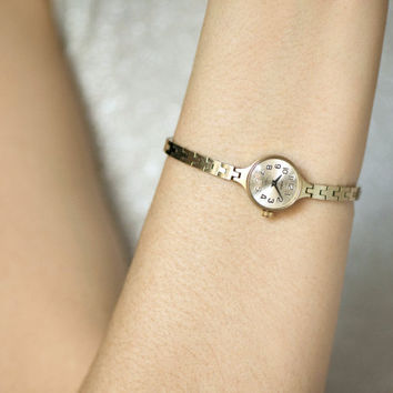Cocktail watch bracelet for women, gold plated women's watch Seagull, delicate women's watch, tiny women watch, fashion gift watch bracelet