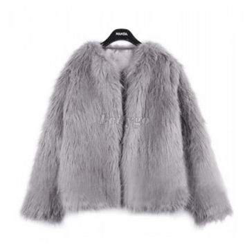 2016 New Winter Women Warm Faux Fur Coat Women Vintage Mink Fox Jacket 10 Colors Size S M L XL Fast Shipping