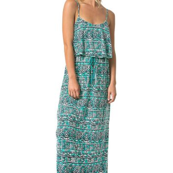 Teeze Me | Spaghetti Strap Popover Printed Maxi Dress | Grey/Mint