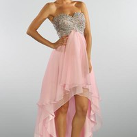 Beaded High Low Chiffon Prom Dress in Pink