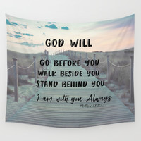 I Am with you Always Bible Verse with Quote Wall Tapestry by Quote Life Shop