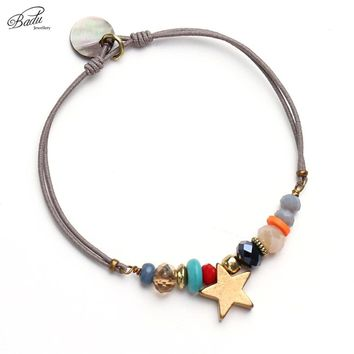 Badu Women Best Friend Bracelet Gold Star String Bracelets Lucky Charm Elastic Rope Summer Handging Pendant Trendy Jewelry Gift